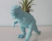 Upcycled Dinosaur Planter - Blue Tyrannosaurus Rex with Tillandsia Air Plant