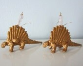 Upcycled Earrings made from Toy Dinosaurs - Gold Dimetrodons with White Glass Beads