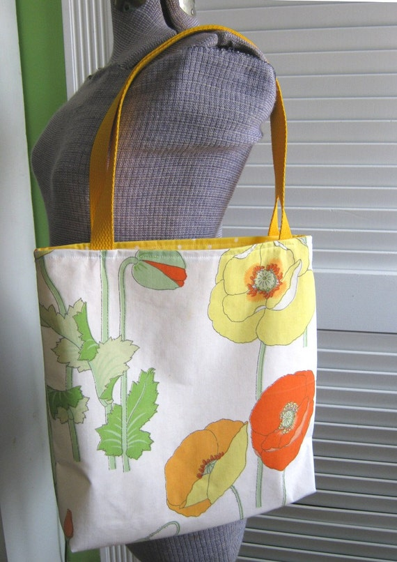 Upcycled Tote Bag from Vintage Poppy Flower Napkins
