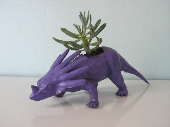 Upcycled Dinosaur Planter - Purple Ceratops with Mini Blue Chalk Fingers Succulent Plant
