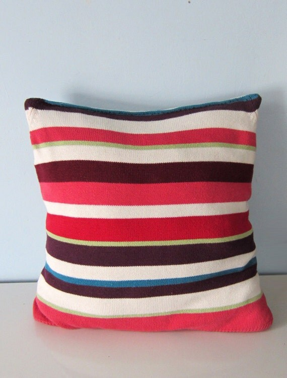 Upcycled Decorative Pillow made from a Recycled Striped Cotton Sweater