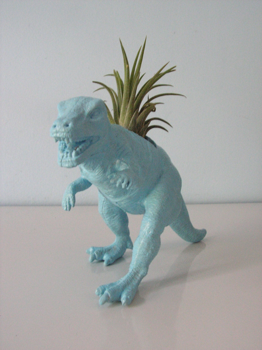 Upcycled Dinosaur Planter Blue Tyrannosaurus Rex With