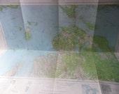 Vintage 1963 Geological Survey Map of Cheboygan Mackinac Straits of Mackinac Lake Michigan Lake Huron