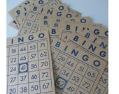 Twenty Vintage Bingo Cards 1960s Blue Altered Art