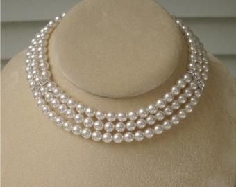 Triple Strand Swarovski Pearl Necklace, Bridal Necklace, Bridal Jewelry, Bridesmaid Necklace, Wedding Necklace