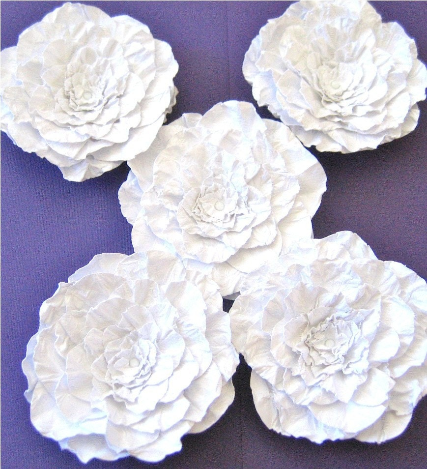 White Paper Flowers Wedding 5-4 inch Ready to ship Handmade