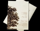 Oak Tree Wedding Invitation Set - Wood Embossed Paper