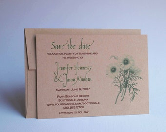 Wedding Save the Date, Daisy Spring Flower Botanical, Green Kraft Card