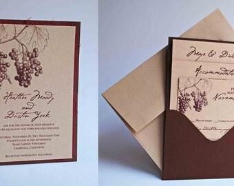 Custom Grape/Vineyard Themed Single Pocket Wedding Invitation - Kraft/Burgundy/Chocolate Brown