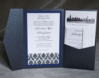 Chicago Skyline/Damask - Custom Pocket Invitation - Pocketfold A7