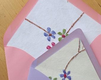 Floral Envelope Liner - A7 - Handmade Indian Paper - Flowers Envelopes - Botanicals