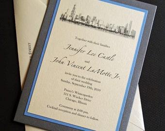 Chicago Wedding Invitation, Custom Pocket Wedding Invitations, Skyline Design