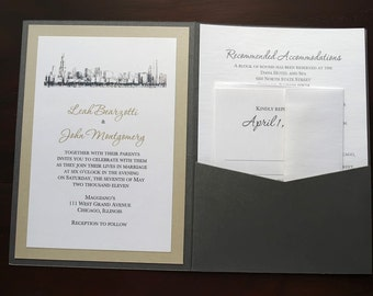 Chicago Skyline Wedding Invitation - Pocketfold Invitation - Custom Colors