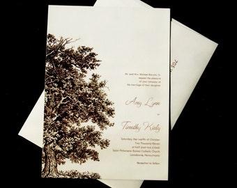 Oak Tree Wedding Invitation Set - Wood Embossed Paper
