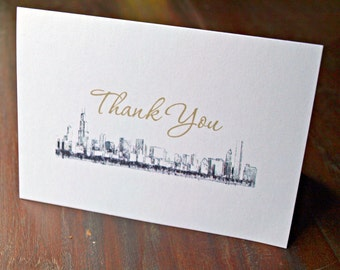 Chicago Skyline - Thank You Card - White