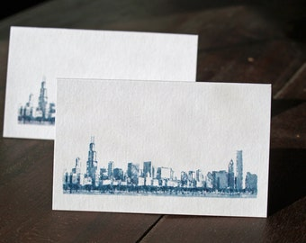 Chicago Skyline Place Card - 1 layer tented - Blank