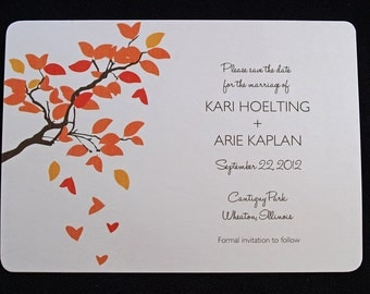 Save the Date - Tree Hearts & Falling Leaves