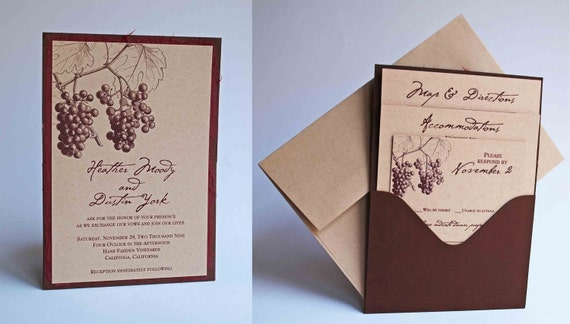 Custom Fall Grape/Vineyard Themed Single Pocket Wedding Invitation - 50 Diff Colors