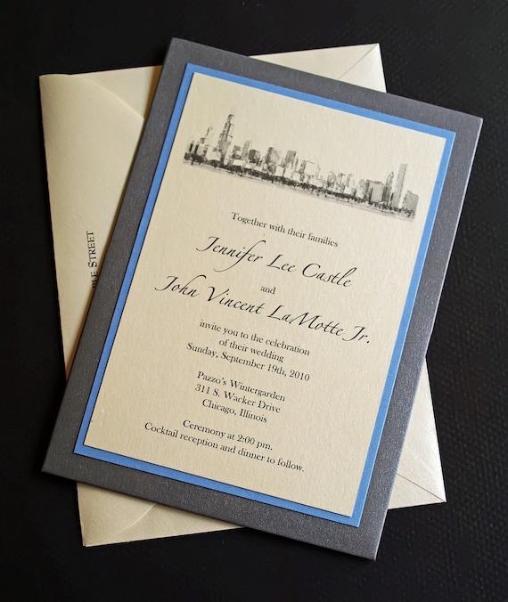chicago wedding invitation custom pocket wedding invitations skyline