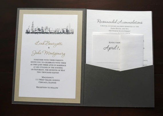 chicago skyline wedding invitation a7 pocket charcoal taupe