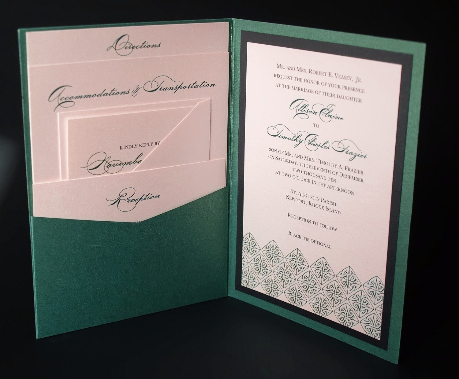 irish green celtic wedding invitation a7 pocket by ericksondesign