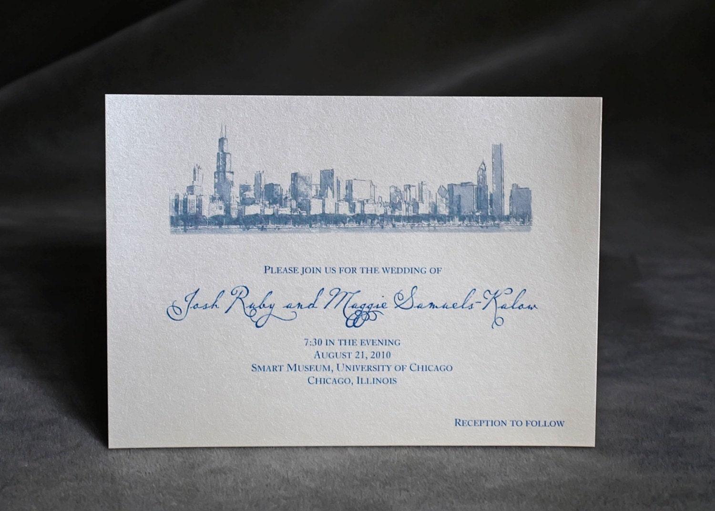 chicago skyline wedding invitation custom