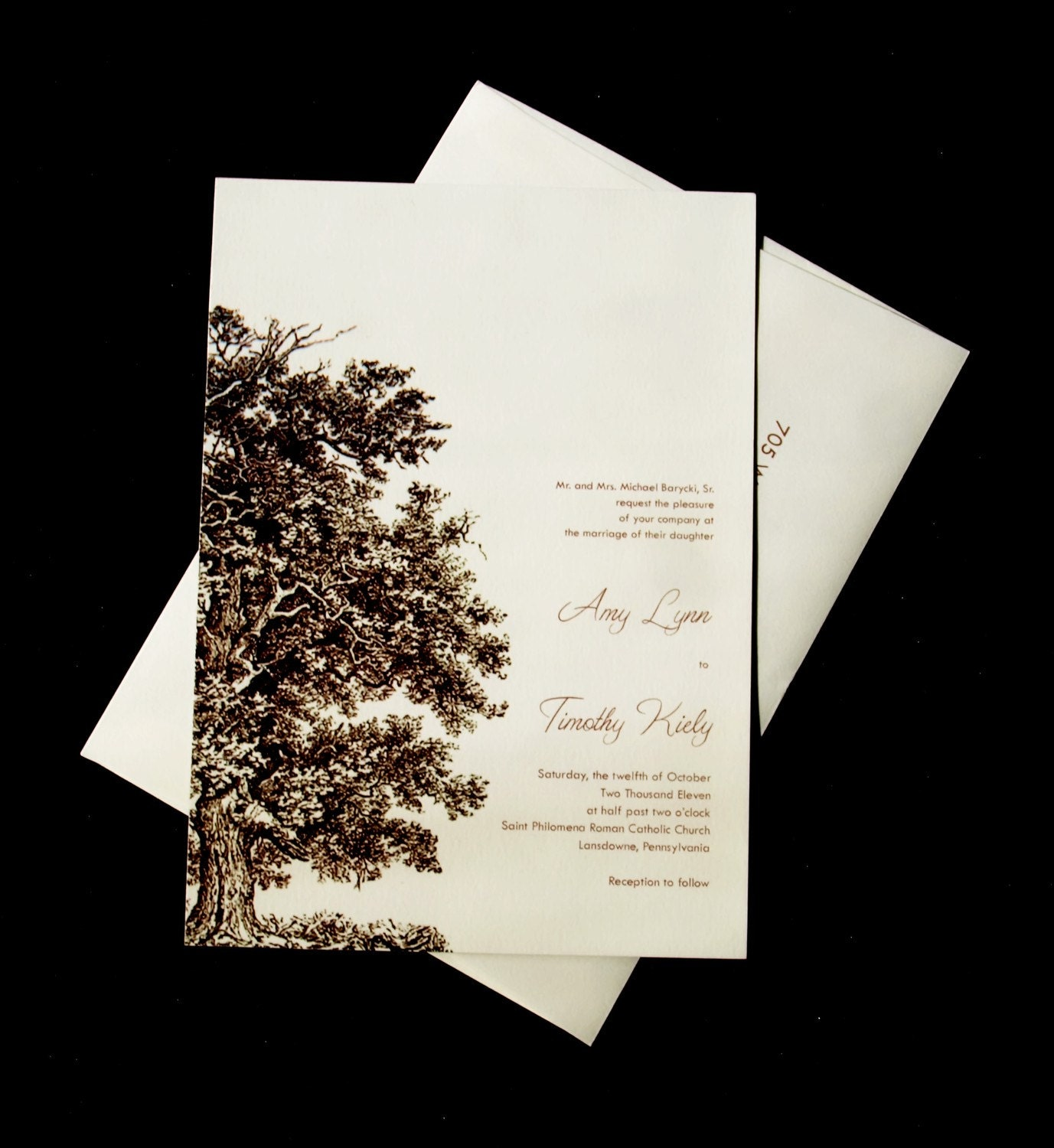 Tree Wedding Invitations: Oak Tree Wedding Invitation Set Wood Embossed By