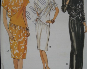 80'S VOGUE PATTERN ASYMMETRICAL INSET DRESS OR GOWN SIZE 10