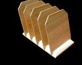 American White Oak Desktop File Rack and Mail Sorter
