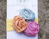 HAND DYED MINI FABRIC ROSES HEADBAND INFANT NEWBORN