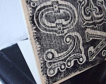 Love Linocut Card Handprinted on Romantic Literature