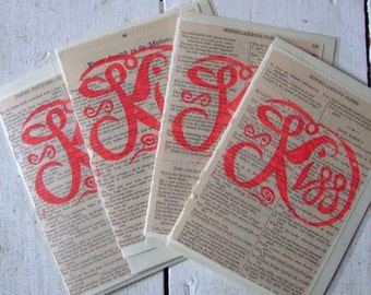 Kiss Linocut Card Handprinted on Romantic Literature