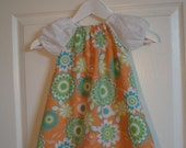 Orange green and aqua floral spring peasant dress for girls and toddlers for Easter