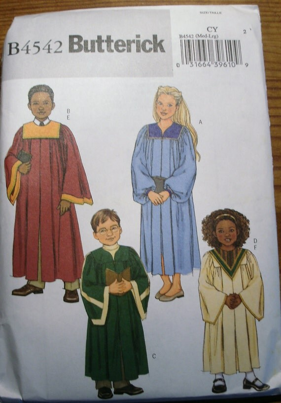Special Sale- Butterick 4542 Children's Unisex Robes and Collars in Sizes M-L