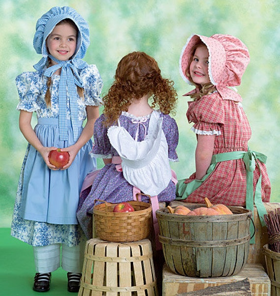 McCall's 4547 Early American Dress, Chemise, Pantaloons, Apron and Bonnet for Girls in Sizes 3-6
