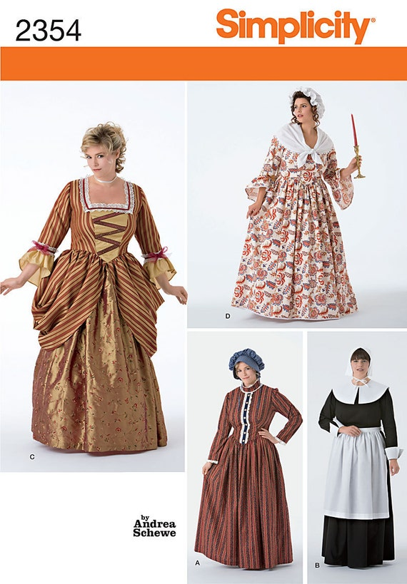 Simplicity 2354 Women's Historical Puritan, 18th Century and Frontier Costumes in Sizes 26W-32W