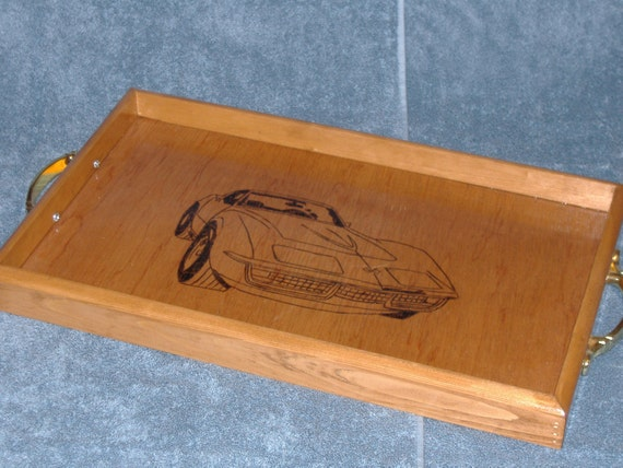 Car-themed wooden coffee tray 11x18x1.5