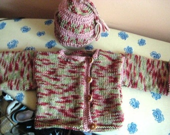 Sales was 47.00 now 39.00 Multicolor cardigan and hat set