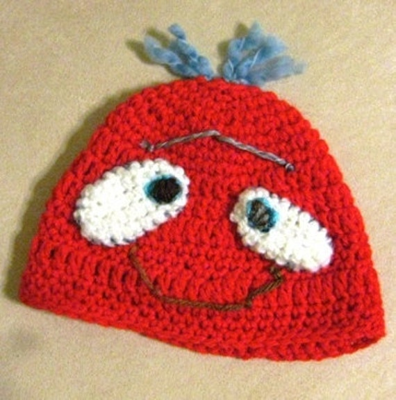 Two eyed smile monster hat,red baby hat