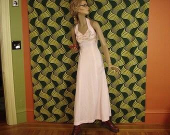70s Halter Maxi Dress / Pretty in Pink Maxi Dress (xs-s)