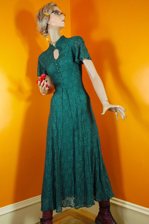 Vintage Green Lace Maxi by Dawn Joy Fashions 1980s