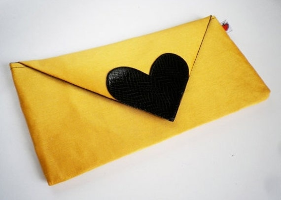 Yellow Clutch Bag Black Leather Heart -Made to Order-