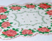 Vintage Handkerchief with Rose Design