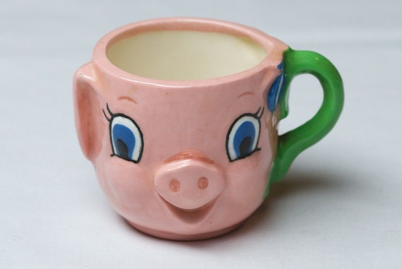 SALE ITEM Vintage Daisy Handled Pig Mug
