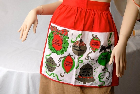 Vintage Red and Green Christmas and New Years Half Apron