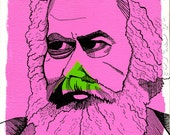 Marx Portrait Print Original Art Socialist Communist