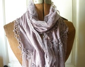romantic long lilac lacy scarf