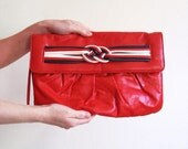 Vintage 1980s Nautical Red Clutch Purse