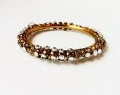 Chunky Gold Tone Diamond Rhinestone Bracelet