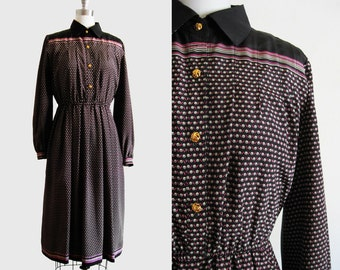 Vintage 1980s Collared Silk Day Dress in Black, Beige and Pink